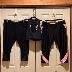 3-Piece Workout Capris & Crop Top/Sports Bra EUC